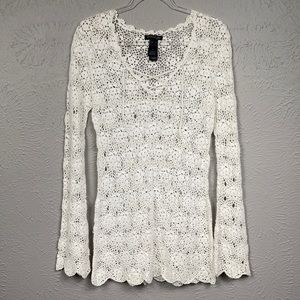 Kenneth Cole White Crochet Long Sleeve Tunic Top M